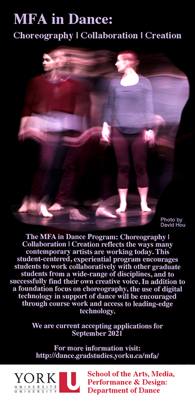 image of a poster promoting the Dance MFA program
